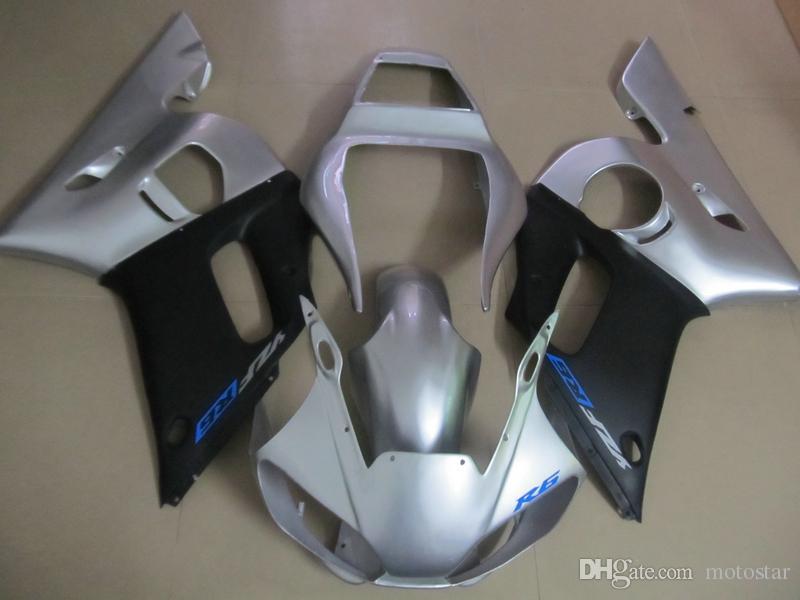 Kit carenado para Yamaha YZF R6 98 99 00 01 02 carenados de la carrocería negro plateado YZFR6 1998-2002 OT02