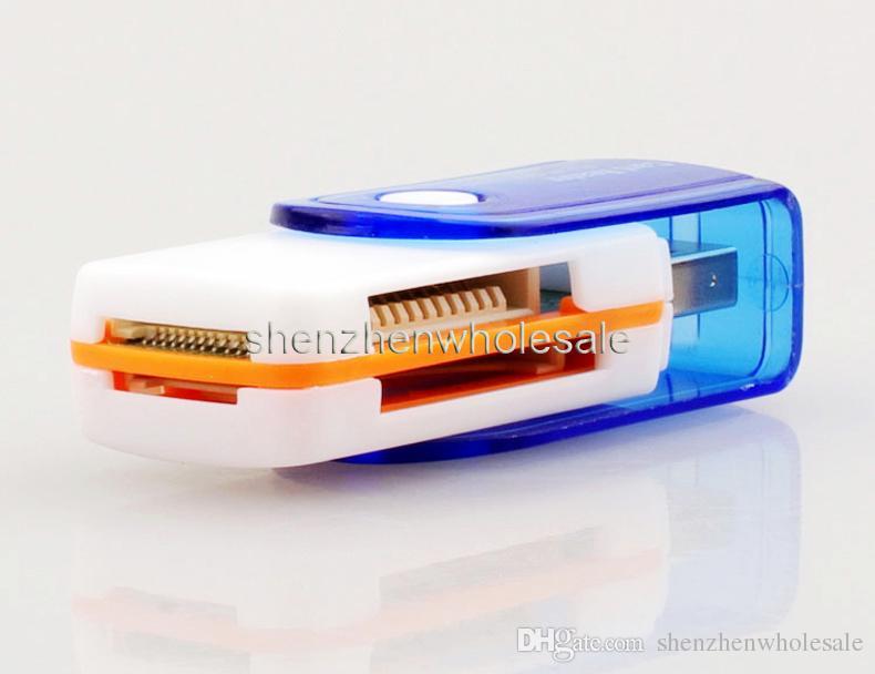 All in 1 USB 2.0 Multi Cartão de Memória Adaptador do Leitor de Conector Para Micro SD MMC SDHC TF M2 Memory Stick MS Duo RS-MMC frete grátis