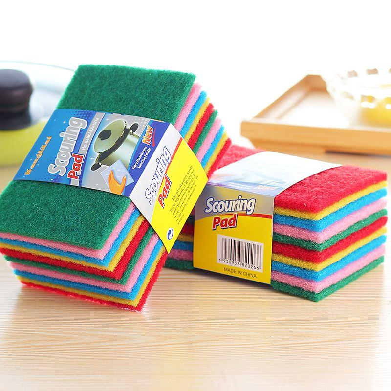 10 Pcs / Set Color Highly efficient Scouring Pad Dish Cloth Cleaning Wipers kitchen rags Strong Decontamination Dish Towels