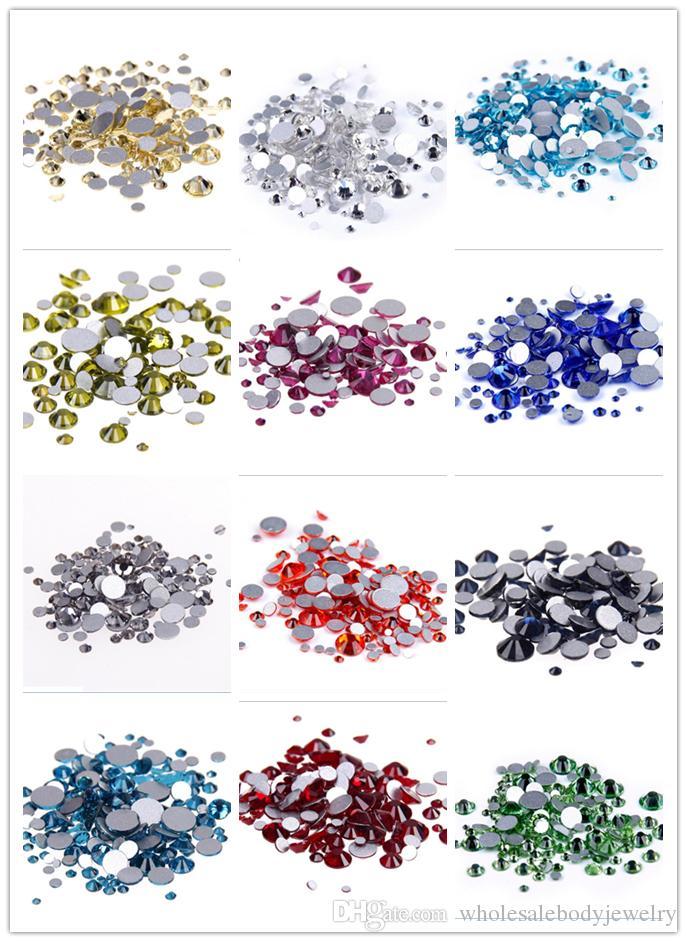noir cristal verre DIY strass flatback pour ongles Art téléphone cas décor ss3-s40