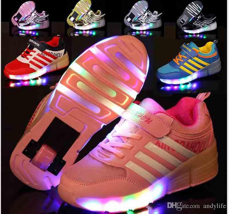 e94b4509d14cd Acheter Nouveau 2017 Enfant Mode Filles Garçons LED Lumière Rouleau Skate  Chaussures Pour Enfants Enfants Chaussures De Sport Avec Roues One Wheels  10design ...