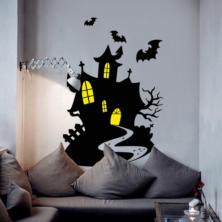 ch-43 halloween and xmas black bat and castle home decor wall