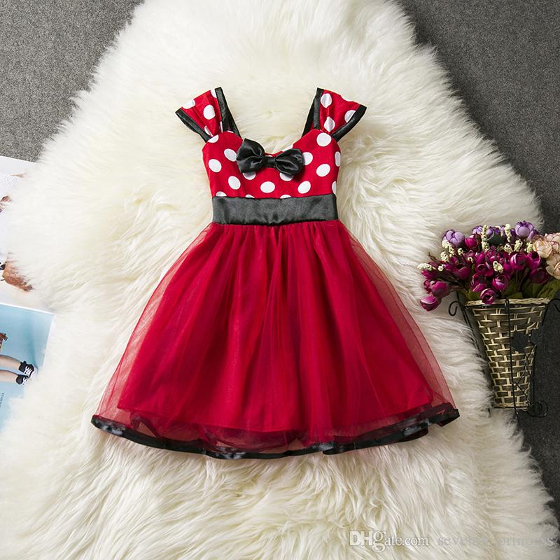 a6310625b3 Baby Girl Mini Dress Red 1-5 Year Birthday Party Outfit Summer Dresses  Toddler Girls Kids Clothes Children Cosplay Costume