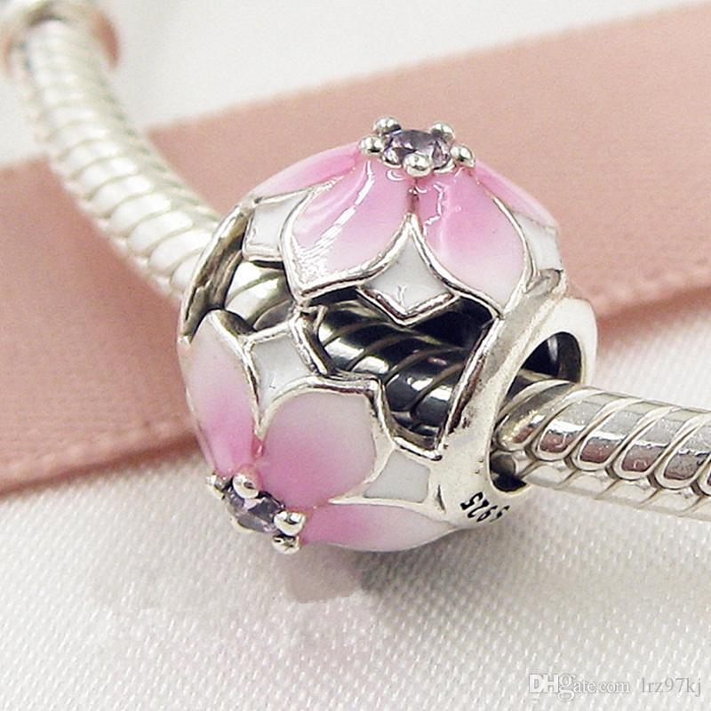 Il branello di fascino della fioritura della magnolia dell'argento sterlina dell'argento sterlina della primavera 2017 con CZ rosa misura i braccialetti europei dei monili di Pandora
