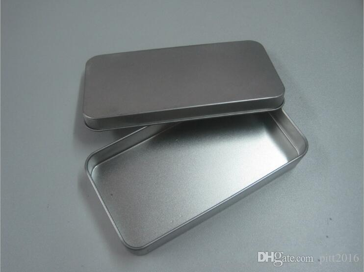 Tin Container Storage Box Metal rectangle for beads business card candy herbs Case 9.4cm x 5.9cm x 2.1cm Sliver
