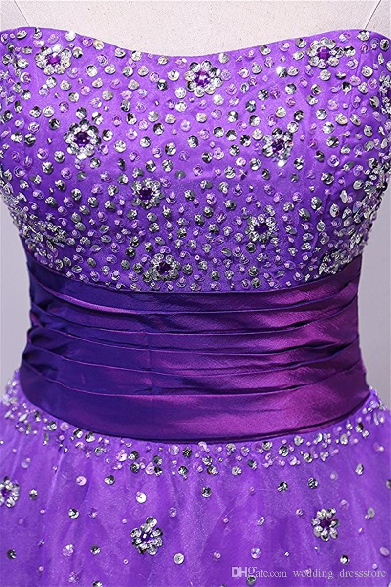 Celebrity Evening Dresses Abendkleider Meerjungfrau 2017 Purple Organza Ball Gown Prom Dresses Cheap Long Party Gowns