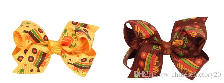Bowknot Printed Headbands Girls Barrettes Halloween Theme Baby Accessories Pumpkin Hair Clips Children Coloful Hair Ribbons