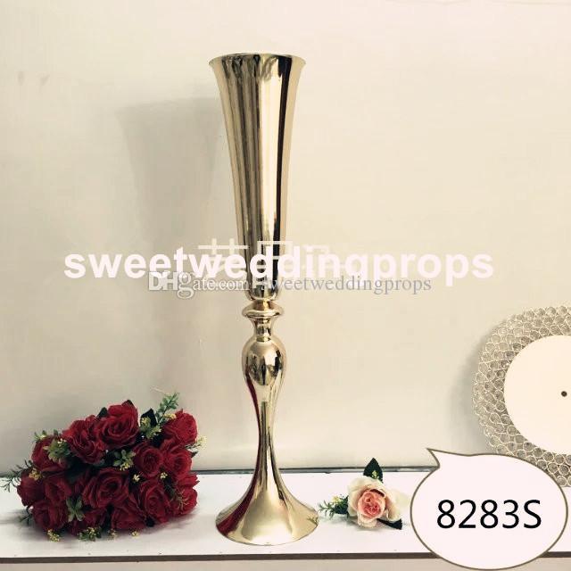 cm 높이 웨딩 테이블 센터 피스를위한 새로운 / 금색 웨딩 플로어 스탠드 / 크고 큰 꽃병