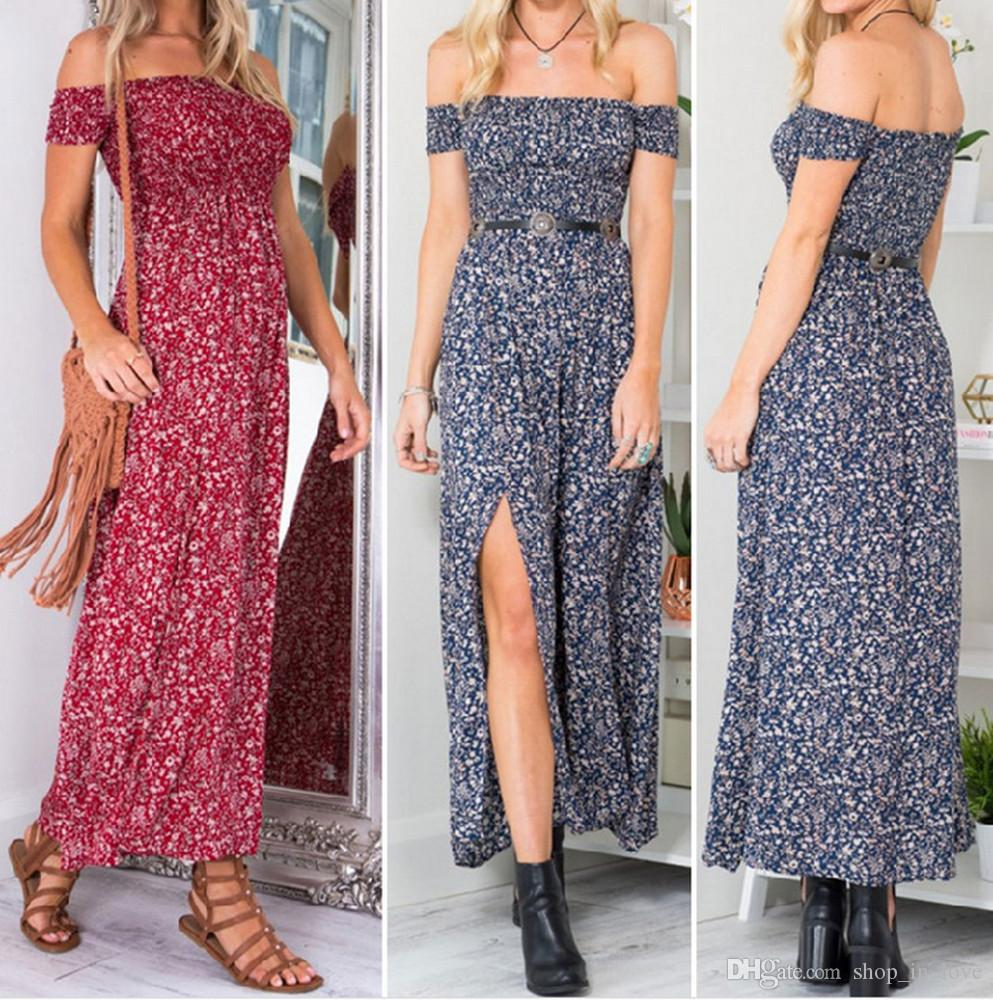 Good Selling Lady Women Fashion Strapless Off Shoulder Floral Split Red  Blue Split Long Dress Clothes 2854 Dress As A Woman Long And Short Dress  From ... ae3b73dad2