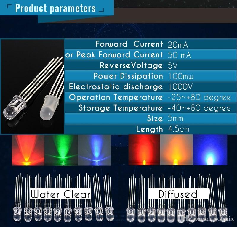 10шт RGB светодиодные диоды 5 мм общий катод 4-контактный три цвета излучающие диоды прозрачный светодиодные лампы лампы DIY освещение