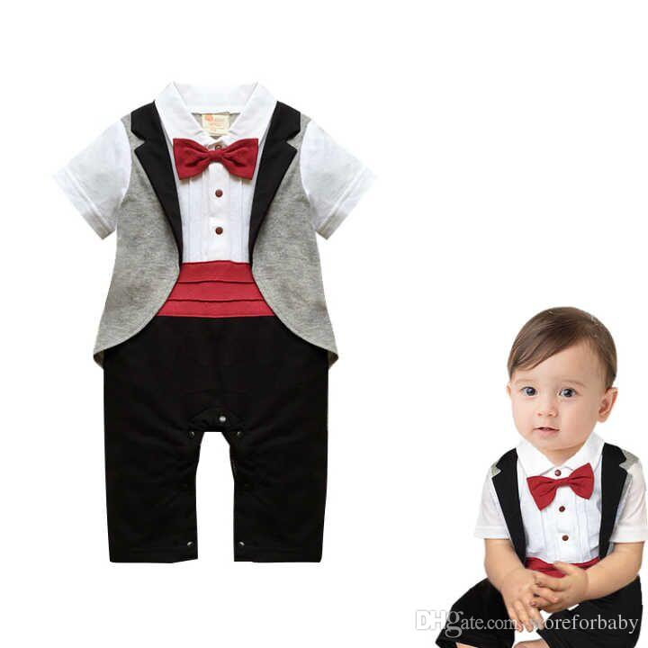 2019 Summer Boys Birthday Party Suits Infant Wedding Suit Gentleman Bow Rompers Toddler Boy 1st Clothes Jumpsuit Gifts From Storeforbaby