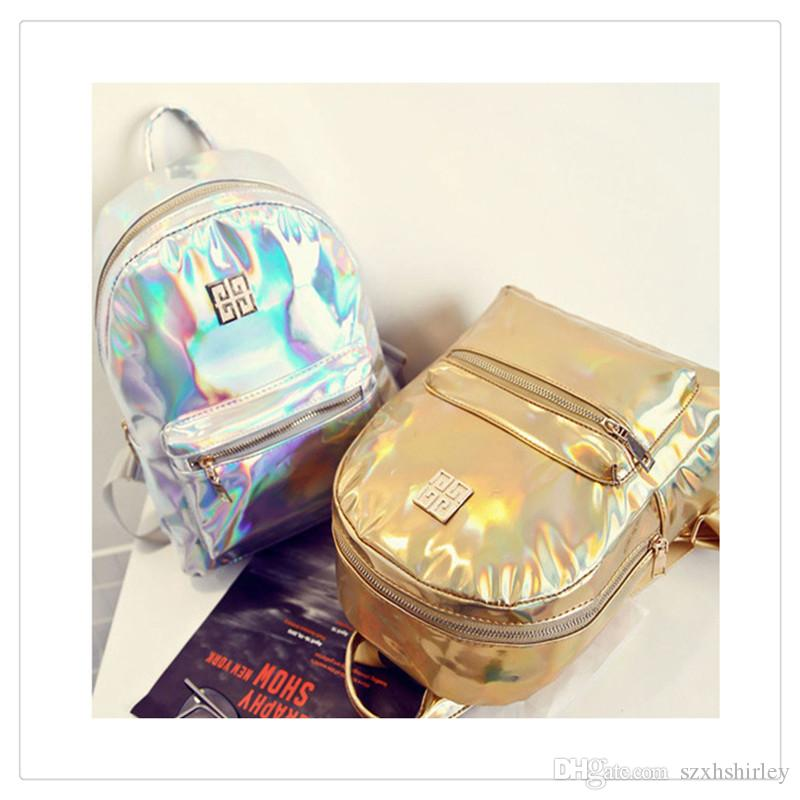 High Quality PVC Handbags NewGirl Fashion Women Hologram Holographic Laser PVC School Backpack Bags For Leather Travel Casual Daypack