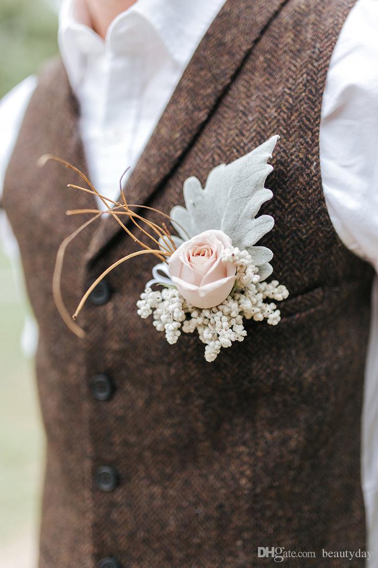 2021 Farm Brown Brown Groom Gilets Laine Herringbone Tweed Custom Custom GroomsMen vêtements Slim Fit Hommes Robe De Mariage De Mariage De Mariage Plus Taille