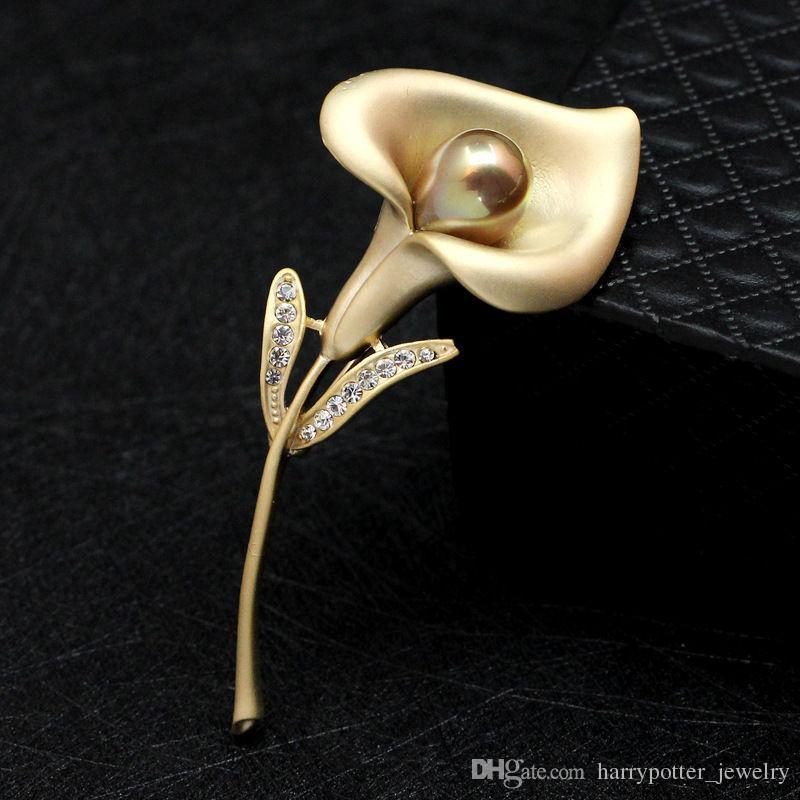 Gümüş Altın Trompet Çiçek Broş Pin İnci Rhinestone Corsages Eşarp Klipler Buket Düğün Broş Noel Takı Hediye 170692