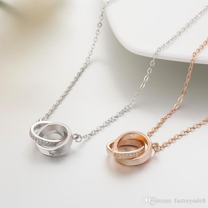 2017s925 plata diamante con incrustaciones de diamantes collar doble anillo de moda anillo colgante cadena chica, envío gratis buena