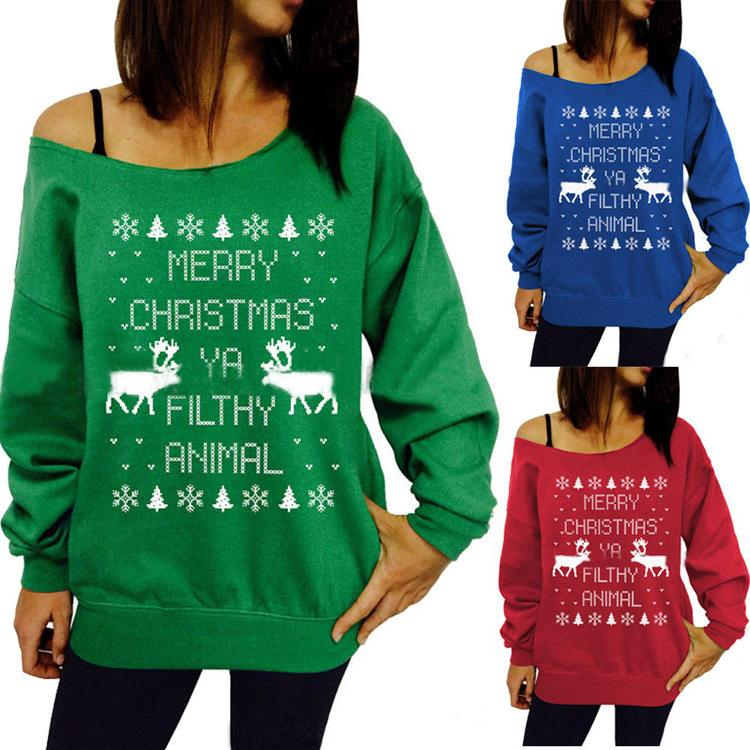 9a392681a 2019 Womens Christmas Letter Animal Print Shirts Hoodies Ladies Sweater  Sweatshirt Off Shoulder Pullover Christmas Party Tops Blouse From Alina56,  ...