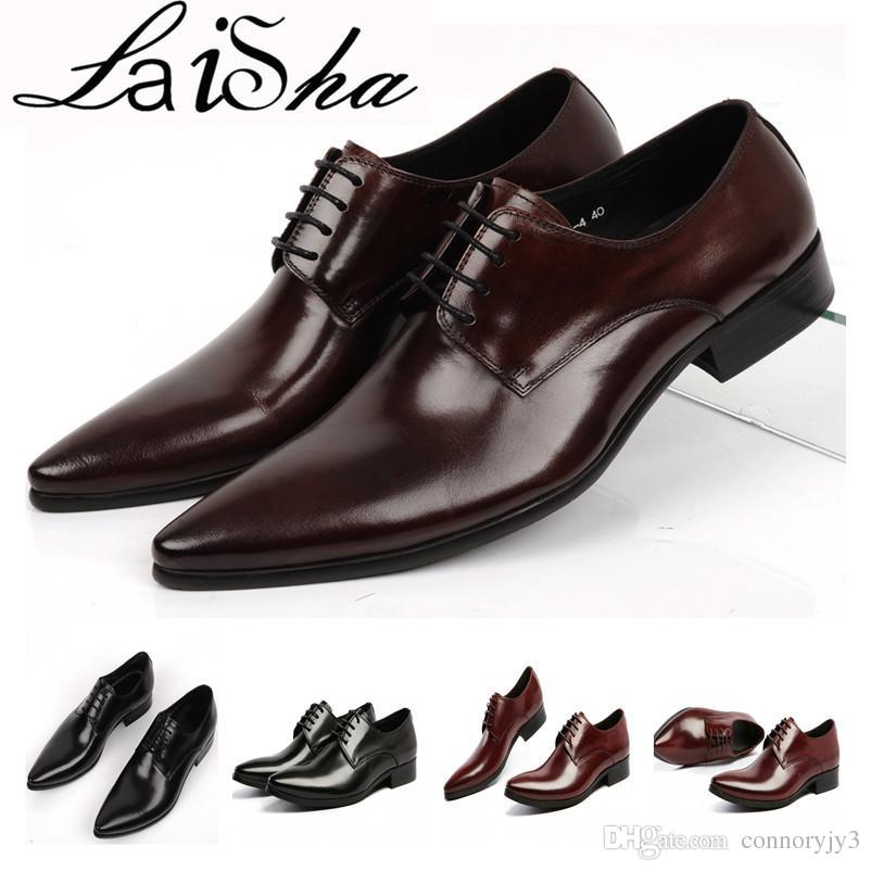 Shoes Men Leather Genuine Italian Designer Mens Pointed Toe Dress Shoes  Classic Formal Oxford Shoes For Men Footwear Wedding Size 39 45 Oxford Shoes  Ladies ... 67cab5a5c21d