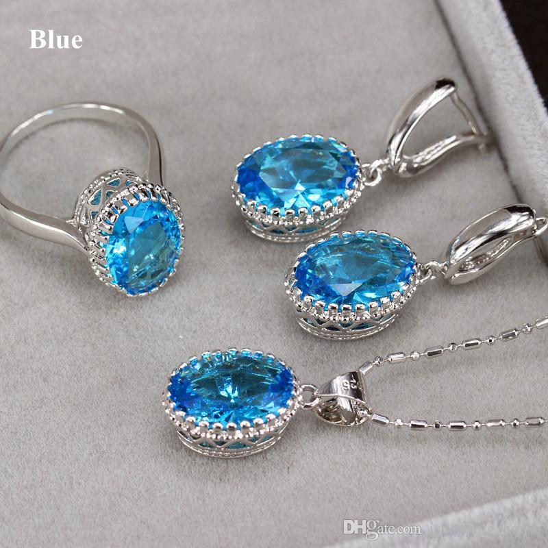 Neue Einzigartige Design Halskette Set Platin 18 Karat Weißgold Überzogen Big CZ Kristall Ring Halskette Ohrringe Frauen Schmuck-Set für Braut für Hochzeit