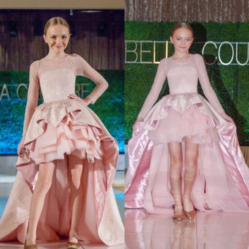 2017 Runway Satin Tulle High Low Ball Gown Flower Girl Dresses Long ...