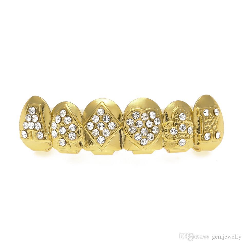 Gold Farbe Iced Out Poker Form CZ Strass Hip Hop Zähne für den Mund GRILLZ Caps Top Bottom Grillz Set Vampir Zähne