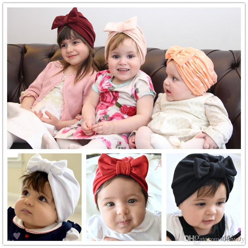 New Baby Hat Caps Big Bow Cotton Europe Style Turban Knot Hats Head ... 6454d0d1f711