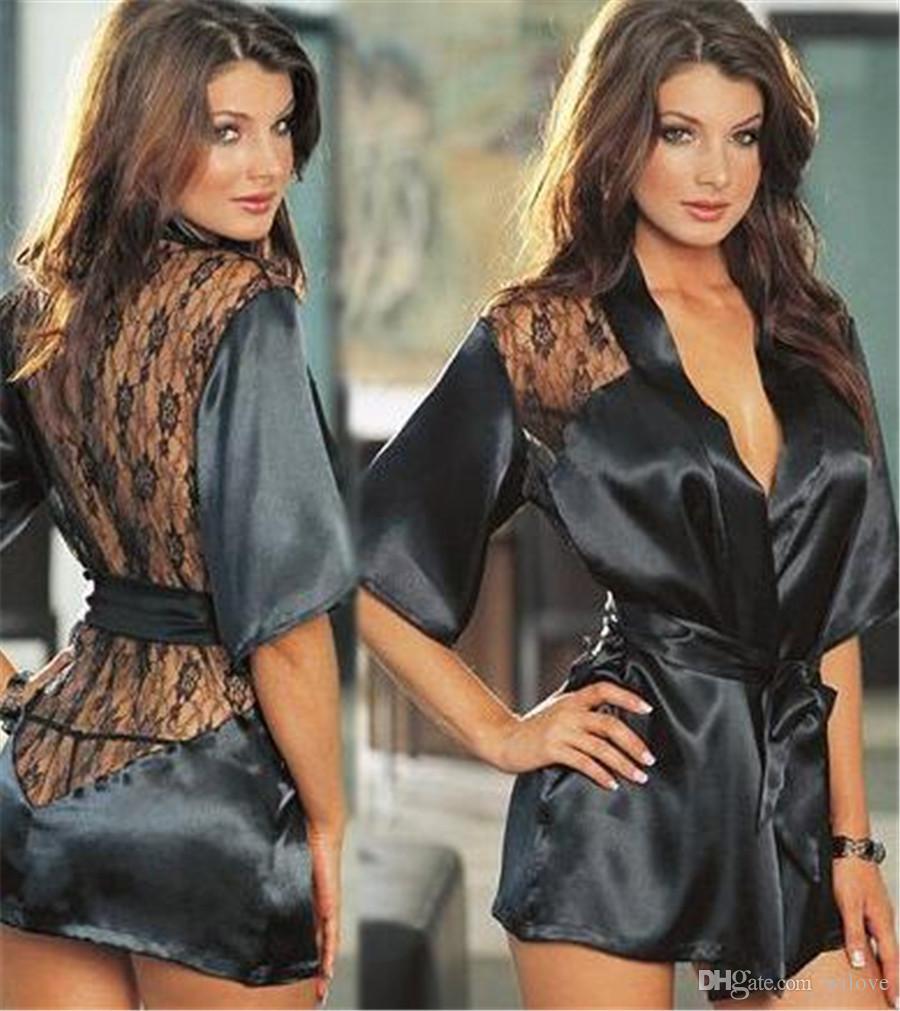 Kadınlar Seksi Erotik Lingerie Artı Boyutu Kadınlar için Langerie Kimono Elbise Saten Siyah Pijama Pijama Bebek Bebek G Dize