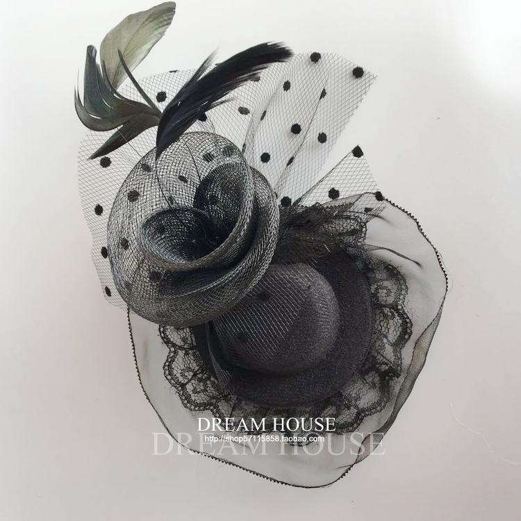 Woman headdress hair Vintage Hepburn portrait party hair black and white feather lace female adult children small hat hair accessories chuck
