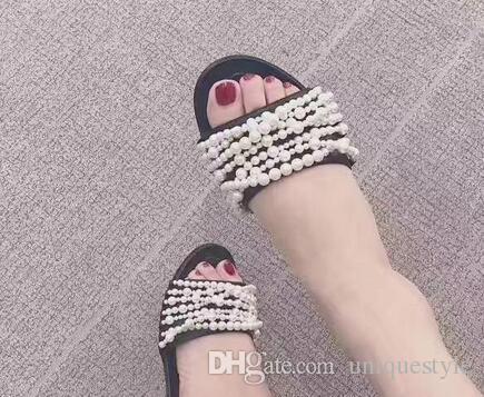 Zapatillas de playa de cuero genuino recién llegado de calidad superior clásico de las mujeres marcas de lujo famosas zapatillas de playa de verano zapatillas más tamaño
