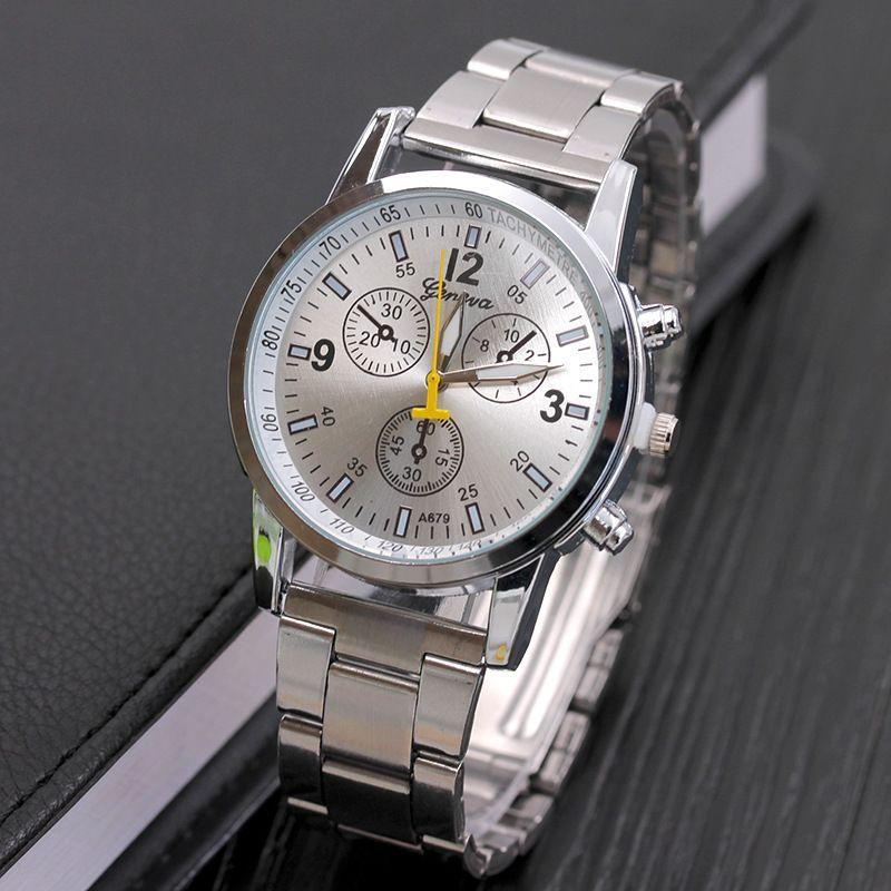 Geneva Watch Male Stainless Steel Band Numerals Quartz Watch Female Three Eyes Six Pin Casual Women Wristwatches