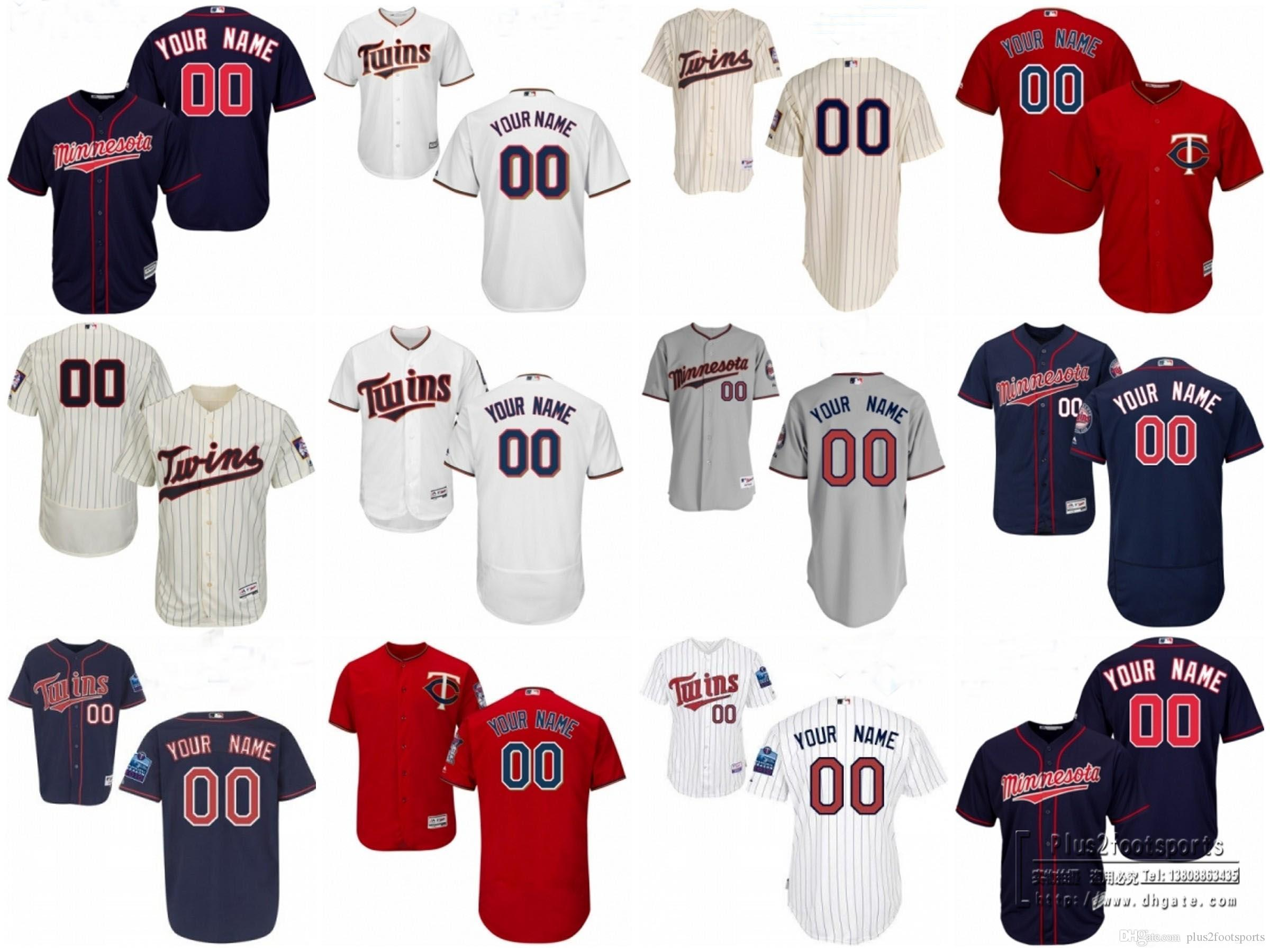 ... 2017 Baseball Jerseys MenS Minnesota Twins Customized White Red Navy  Stripe Cream Flexbase Cool Base Authentic Mens Minnesota Twins Majestic ... 6350cc99e