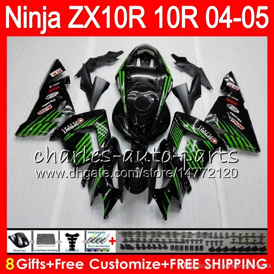 8Gifts Body For KAWASAKI NINJA ZX 10 R ZX10R 04 05 06 07 35HM15 verde negro ZX 10R ZX1000 C ZX1000C 04 ZX-10R 2004 2005 kit de carenado