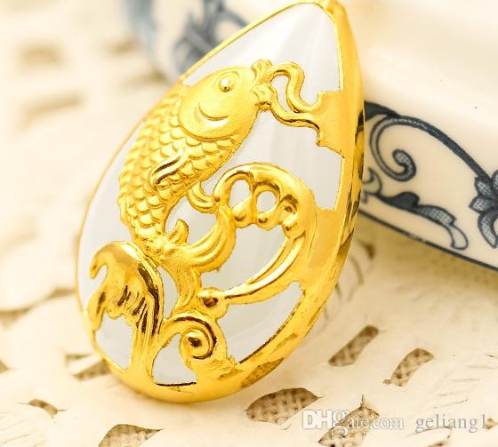 Gold inlaid jade white water type gold carp talisman necklace pendant more every year
