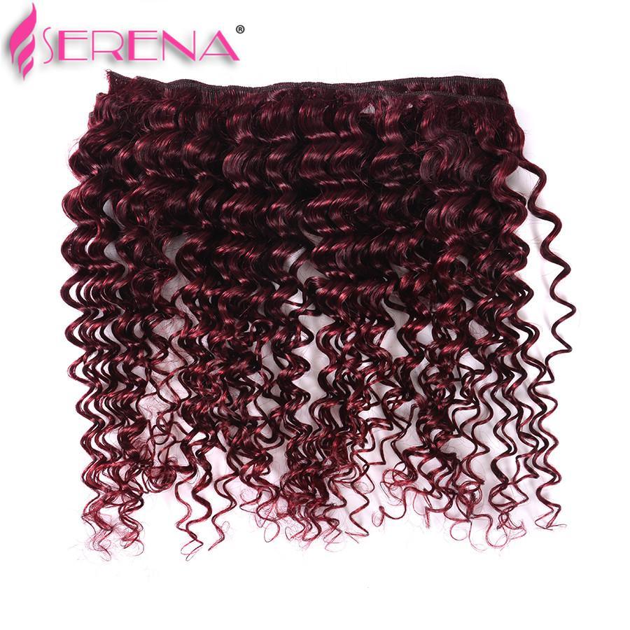 Extensiones de cabello rojo 99j profunda rizado Virgen brasileño peruano malasio indio al por mayor del pelo humano 7a brasileño armadura del pelo paquetes