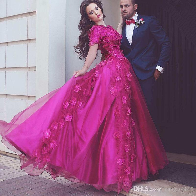 Fuchsia 3D Floral Applique Elegant Evening Formal Dresses 2017 Dubai Arabic Crew Short Sleeve Full length Prom Occasion party Dress