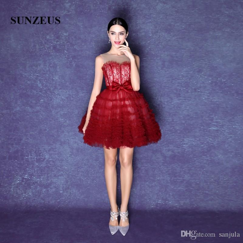 Wine Red Short Ball Gown Prom Dresses Illusion O Neck Lace Evening ...