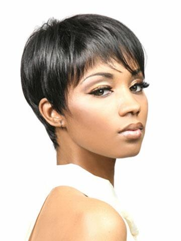Xiu Zhi Mei Short pixie cut style Afro wig for women black Synthetic african american wig with bangs