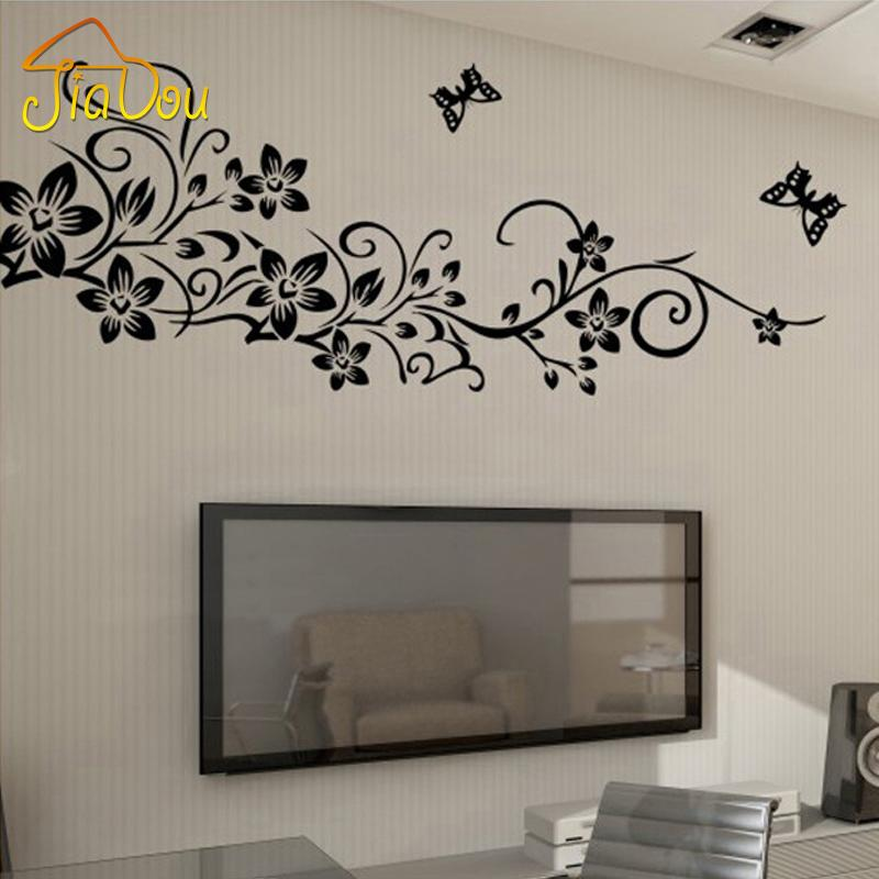 Black Butterfly Flower Vine Wall Stickers Home Decor Large Paper Flowers Living Room Bedroom Sticker Space Decals From