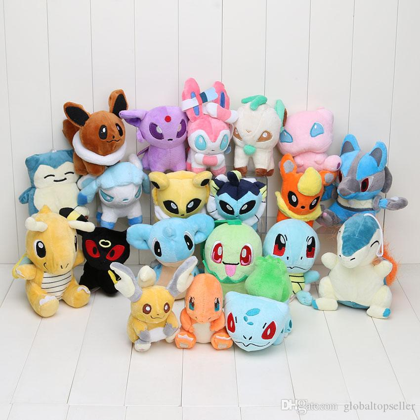 20pcs/set Anime Pikachu 20 Different style pocket Plush Character Soft Toy Stuffed Animal Collectible Doll New in Bag