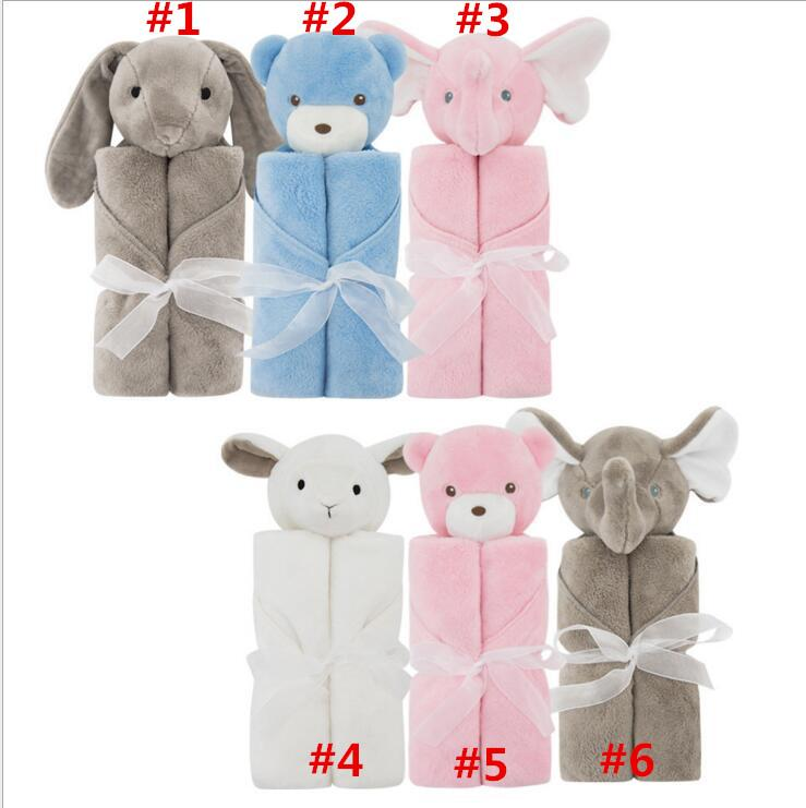 50Pcs Baby Bedding Blanket Rabbit Bear Elephant Animal Toy Head Soft Blanket Newborn g Swaddle Wrap76*76cm Coral Fleece Plush Blankets