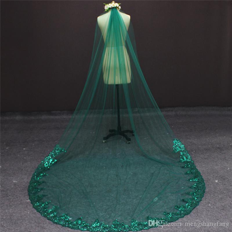 2017 Gorgeous Green Wedding Veil Bling Sequined Lace Single Layer