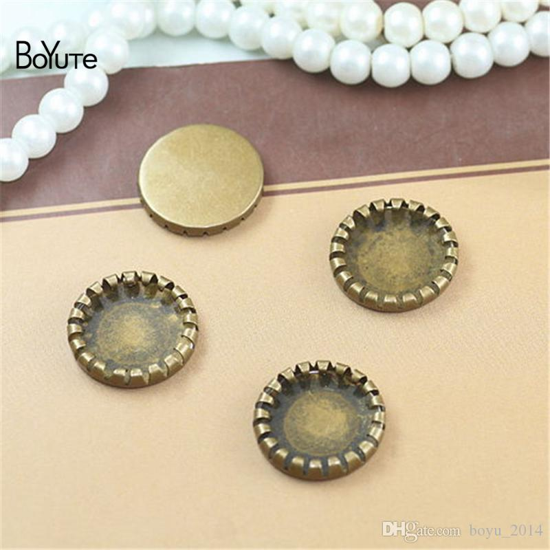 BoYuTe Round 14MM Hot sale Cameo Cabochon Setting Bronze Diy Blank Tray Base Jewelry Accessories Parts