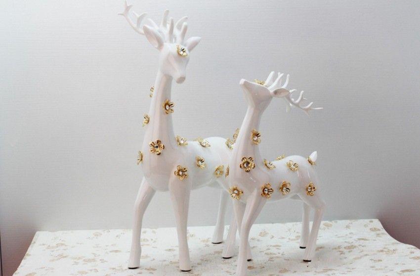 Résine artisanat Le symbole de l'amour mascotte sika cerf décoration de la maison Le salon la chambre articles d'ameublement Cadeau de mariage pour valen
