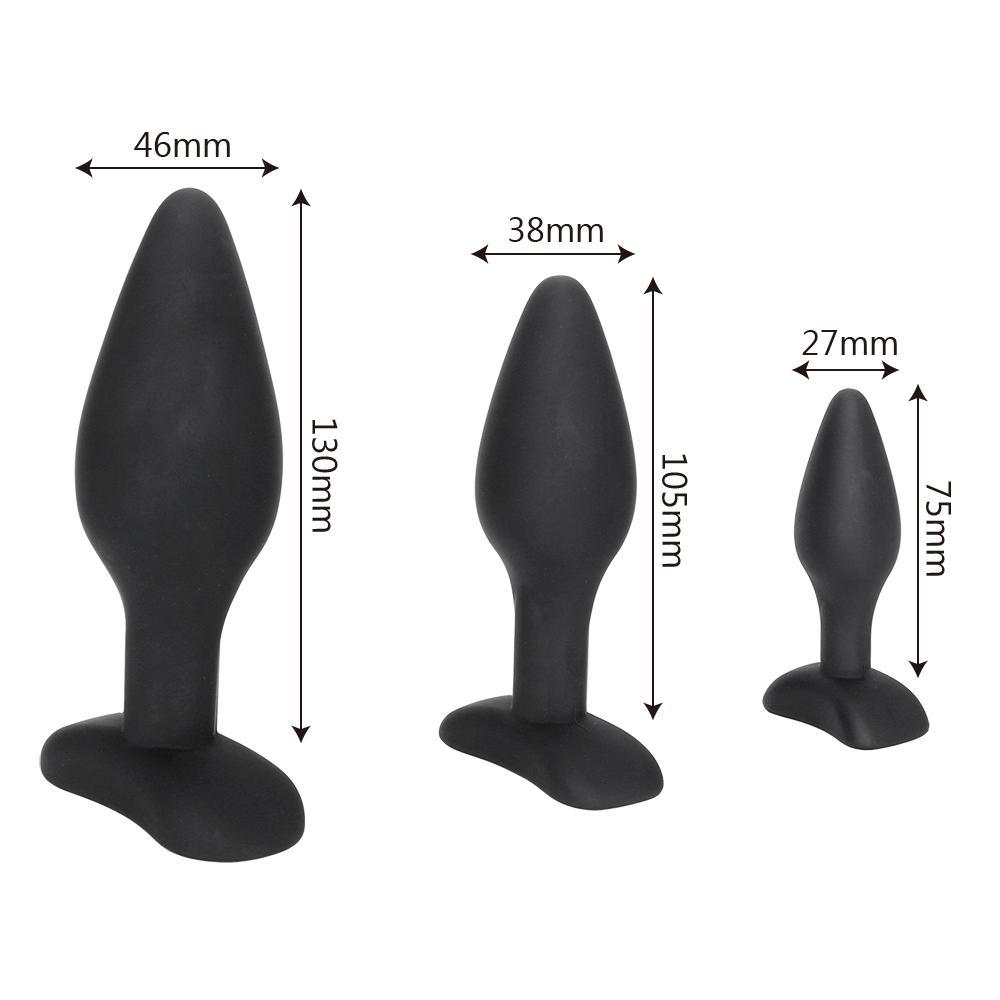 IKOKY Sexy Nero Silicone Plug Anale Massaggio Giocattoli Adulti Del Sesso Le Donne Uomo Gay Anale Ma Plug Set Butt Plug Butt Plug Prodotti Del Sesso q170718