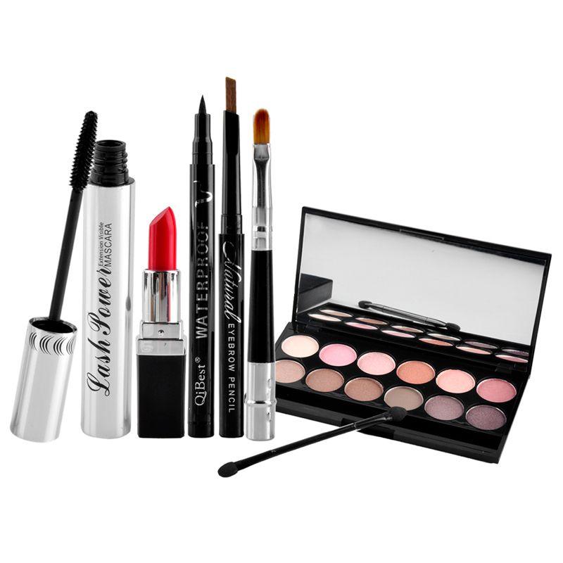 HOT Seal Qibest Makeup Set Mascara + Eyeliner + Eyeshadow + Eyebrow Pencil + Lipstick