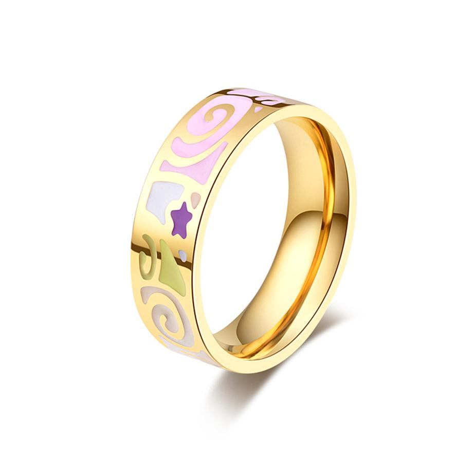 luxury accessories color wedding pink product stainless rings bohemian women gold steel brand engagement men vintage ring jewelry for enamel wholesale