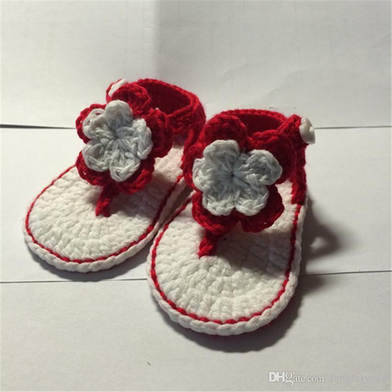 QYFLYXUE-Ücretsiz nakliye, El Yapımı Tığ Işi Bebek Patik, Tığ Bebek Saf Renk ayakkabı Kızlar Inci Çile ayakkabı İlk Walkers