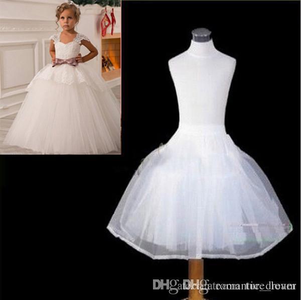 Últimas Crianças Peticoats Wedding Noiva Acessórios 2 Hoops 2 Camadas Pequenas Meninas Crinolina Branco Longa Flor Menina Formal Dressykirt
