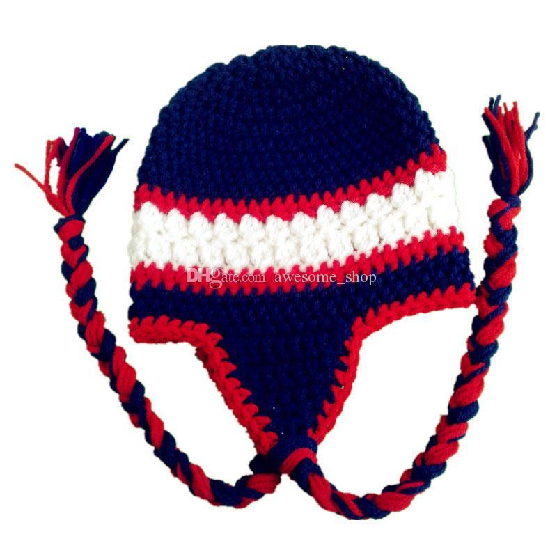 Novedad Crochet Fútbol Bebé Beanie Hecho a mano Crochet Bebé Niño Niña Equipo de fútbol Sombrero de invierno Sombrero Infantil Niño pequeño Foto Prop Bebé ducha Regalo