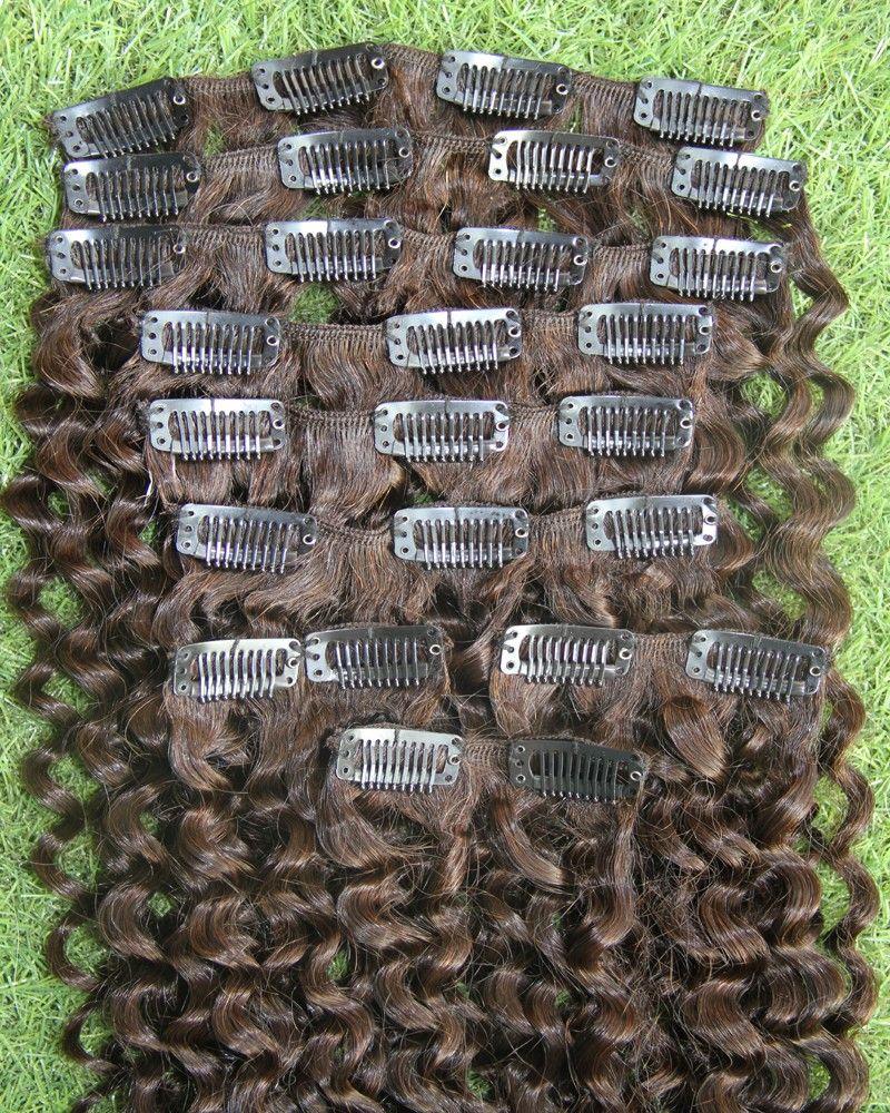 # 4 Dark Brown Kinky clipe crespo em extensões do cabelo clipe americano africano em extensões de cabelo humano 100g afro excêntricas ins clipe encaracolados
