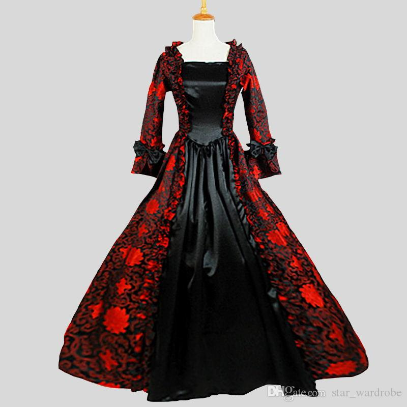 2019 2017 Red And Black Cotton Gothic Victorian Party Dresses Square